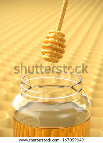 A render of a dipper dripping honey - stock photo