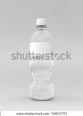A render of a labeled water bottle over a whit background - stock photo