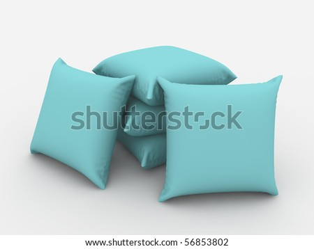 A render of a pile of isolated blue cushions - stock photo
