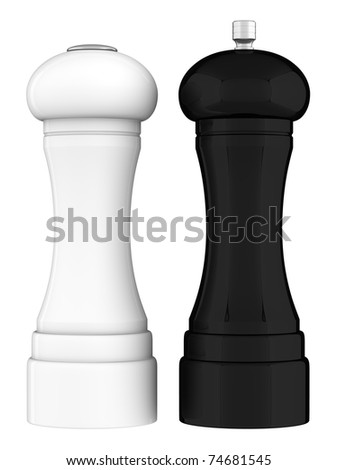 A render of a salt shaker and a pepper grinder - stock photo