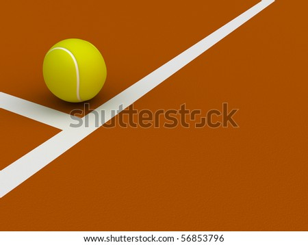 A render of a tennis ball on the ground near the court lines - stock photo