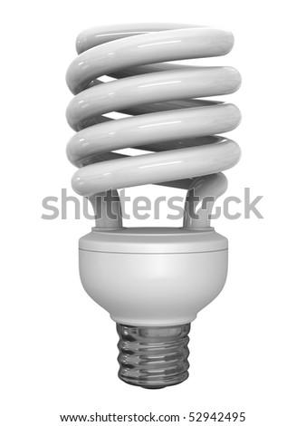A render of an energy saver fluorescent lightbulb - stock photo