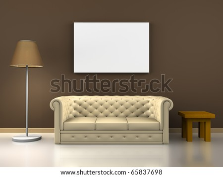 A render of an interior scene decoration - stock photo