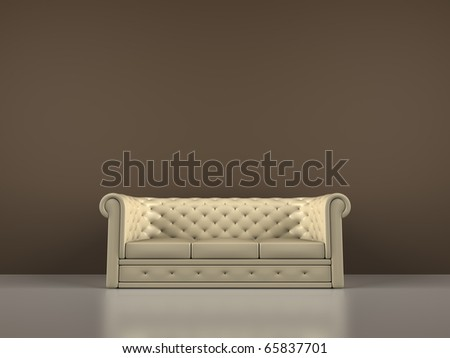 A render of an interior scene with a sofa - stock photo