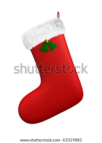 A render of an isolated hanging christmas red boot - stock photo