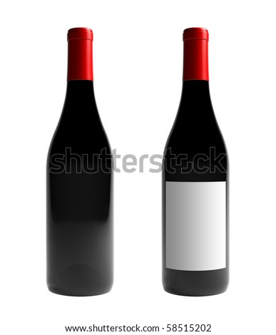 A render of an isolated labeled and an unlabeled burgundy wine bottle - stock photo