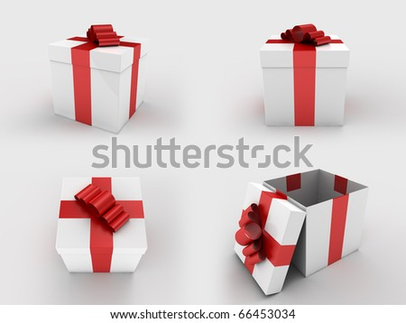 A render of an isolated white gift box with a red ribbon - stock photo
