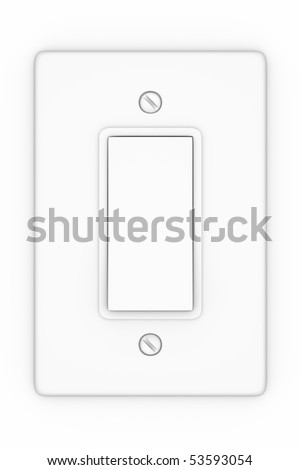 A render of an isolated white light switch - stock photo