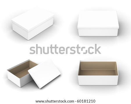 A render of different views of an isolated shoebox - stock photo