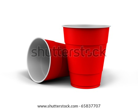 A render of generic plastic cups on white background - stock photo