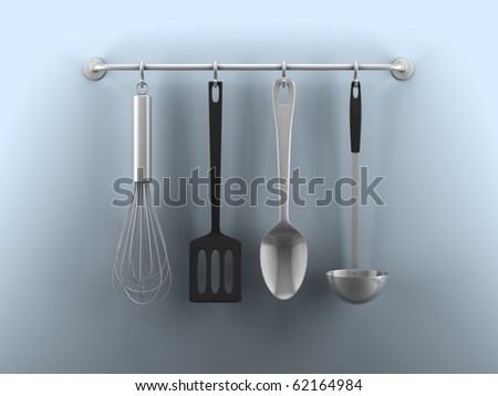 A render of hanging kitchen utensils on a blue wall - stock photo