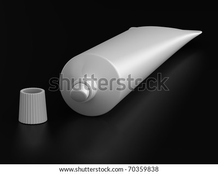 A render of isolated generic toothpaste tube - stock photo