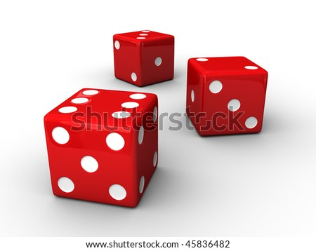 A render of 3 isolated red dices - stock photo