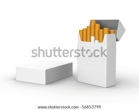 A render of two isolated blank packs of cigarettes - stock photo
