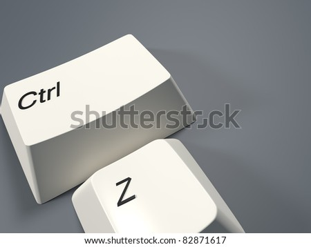 A render of undo command on a light blue background - stock photo