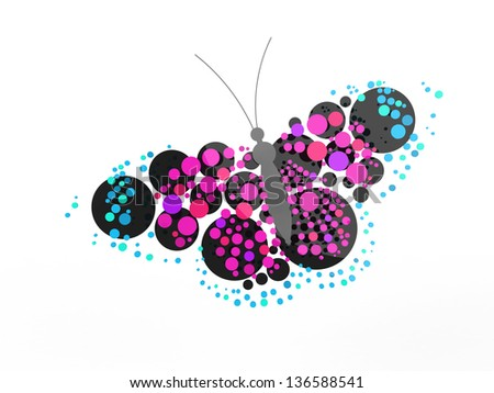 A rendered butterfly composed mostly of circles. Can be used as a logo or icon.