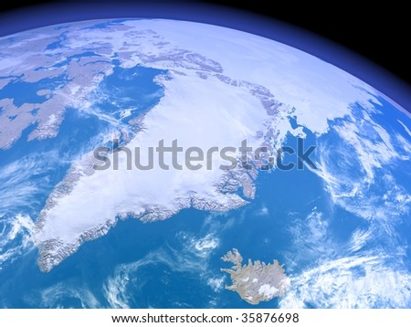 A rendered 3d illustration showing Greenland as seen from space