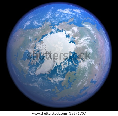 A rendered 3d illustration showing the Arctic as seen from space