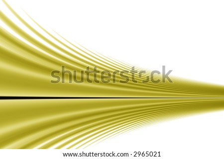 A rendered fractal of gold and black on a white background.  Lines curve in from the left to converge close to a point on the right of an image, like a road going off in the distance. - stock photo