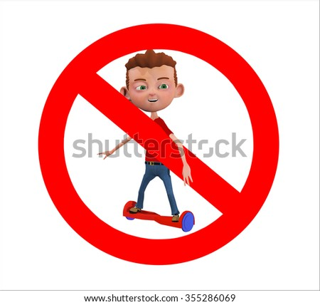 a rendered illustration of a no hoover boards allowed sign