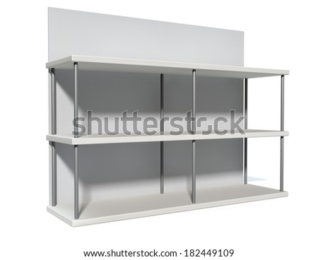 A rendered metal freestanding shelf with a blank backing board on an isolated white background