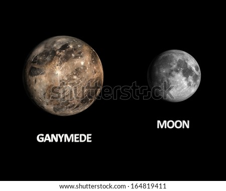 A rendered size comparison of the Jupiter Moon Ganymede and the Earth Moon on a clean black background with english captions.