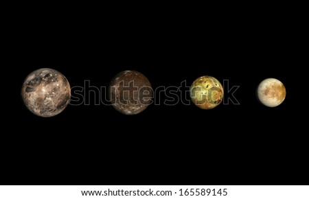 A rendered size comparison of the Jupiter Moons Ganymede, Callisto, Io and Europa on a clean black background. - stock photo