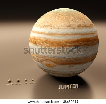 A rendered size comparison of the planet Jupiter and its four largest moons Ganymede, Callisto, Io and Europa.