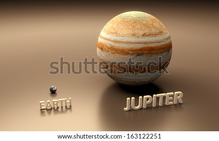 A rendered size-comparison sheet between the Planets Earth and Jupiter with captions - stock photo