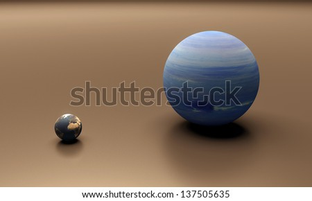 A rendered size-comparison sheet between the Planets Earth and Neptune. - stock photo