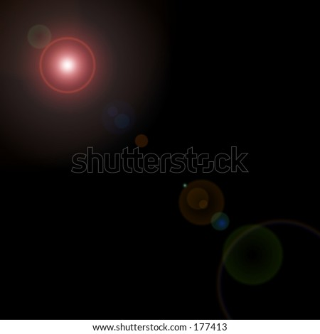 A rendered solar body and lens flare against a black background. - stock photo
