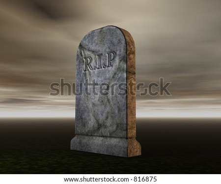 A rendering of a gravestone - stock photo