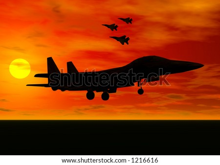A rendering of a jet fighter taking off in the sunset - stock photo