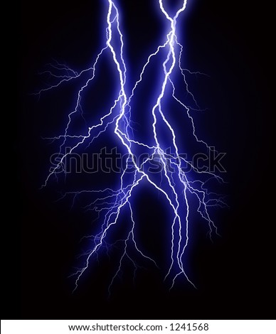 A rendering of a lightning strike - stock photo