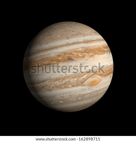 A rendering of the Gas Planet Jupiter on a clean black background. - stock photo