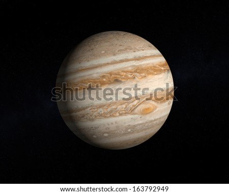 A rendering of the Gas Planet Jupiter on a slightly starry background.