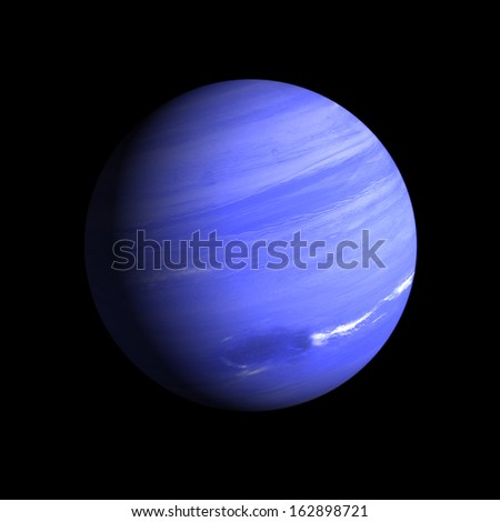 A rendering of the Gas Planet neptune on a clean black background. - stock photo