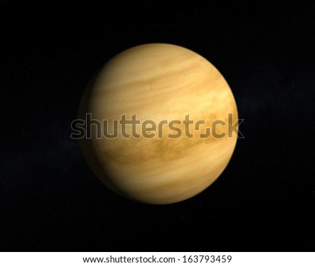 A rendering of the Planet Venus on a starry background. - stock photo