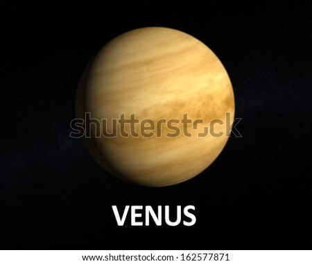 A rendering of the Planet Venus on a starry background with english caption.