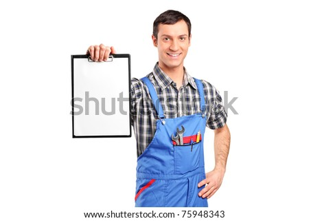 A repairman holding a blank clipboard isolated on white background - stock photo