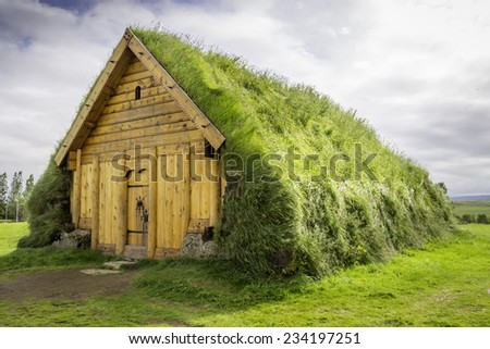 A replica of a house Vikings would have lived in in Iceland - stock photo