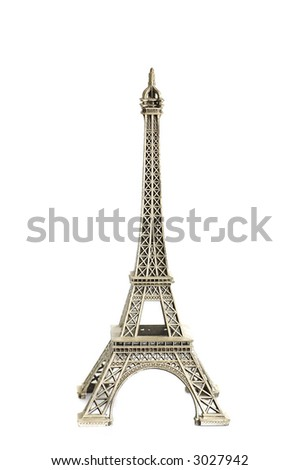 A replica of Eiffel tower isolated against  a white background - stock photo