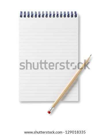 a reporters book jotter with pencil copyspace 2 with path - stock photo