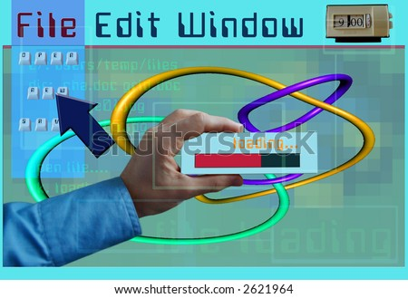 a representation of a computer loading some software created from various bits - stock photo