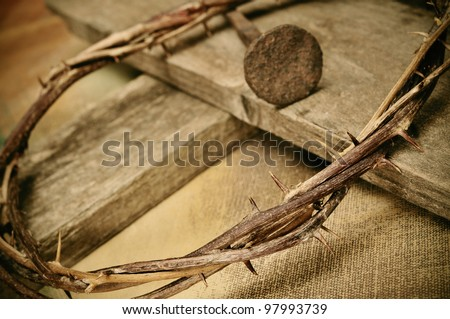 a representation of the crown of thorns and the cross of Jesus Christ - stock photo