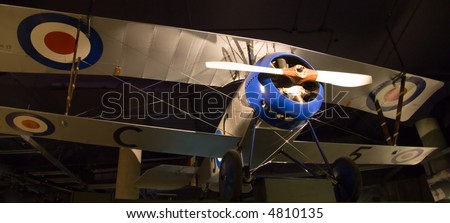 A reproduction of a Nieuport 17 taken at the Canadian War Museum. This French biplane first saw service in 1916 during World War I. - stock photo