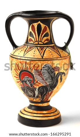 A reproduction of a Nikosthenic black figure amphora from the Hellenistic period. The original is from  Cyprus. The copy is typical of archaeological tourist souvenirs sold across Greece and Cyprus. - stock photo
