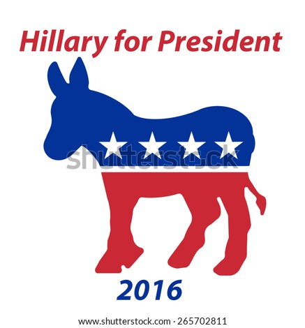 A Republican Donkey Hillary for President in 2016 sign - stock photo