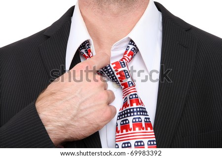 A Republican GOP senator or congress man with symbolic tie - stock photo