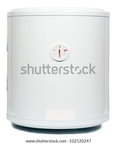 A residential electric water heater, isolated on white